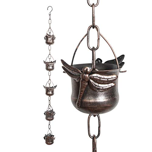 Iron Dragonfly Decorative Rain Chain for Gutters | Unique Downspout Extension Home Décor | Rainwater Diverter with Rain Collector Cups is an Excellent Gift Idea for Housewarming, Birthday
