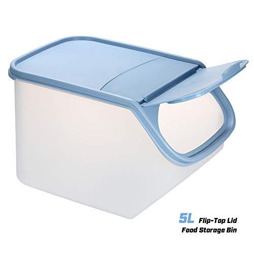 Blusea 5L Bandeja de plástico para Guardar Alimentos Arroz Frutas Verduras Harina de maíz Bocaditos Porta contenedores con Tapa abatible con Taza de medición