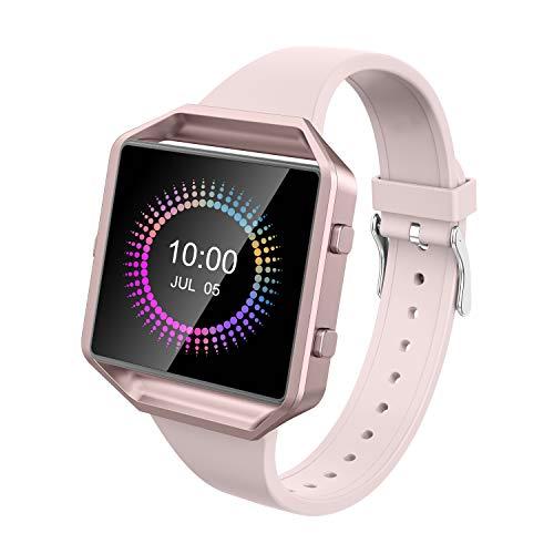 Wearlizer für Fitbit Blaze Armbänder, Silikon Slim TPU Ersatzband Zubehör Armband für Fitbit Blaze Sportuhr Damen Herren - Small/Large (Beige)