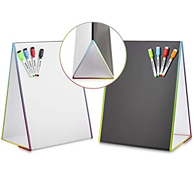 """Tabletop Magnetic Easel Whiteboard & Washable Blackboard with Chalkboard Design (2 Sides) 16 X 12.5"""" Includes:4 Dry Erase Markers & 4 Chalk Markers Drawing Art Black Board Educational Kids Toy"""