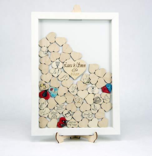 Laserano Edles Hochzeitsgästebuch, Bilderrahmen, weiß lackiert, 70 Holz Herzchen - Wunschgravur