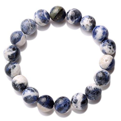 Banshren 12mm curación piedra hecha a mano redonda Reiki cuentas pulseras con cuentas pulsera elástica