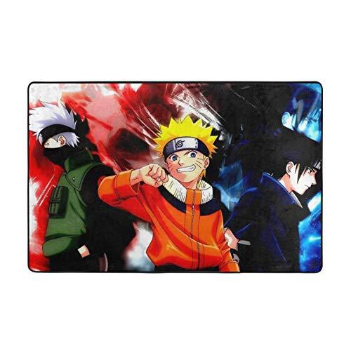 KZLXCH Anime Naruto y Sasuke y Kakashi suave pelusa grandes alfombras de 150 x 100 cm para dormitorio y sala de estar.