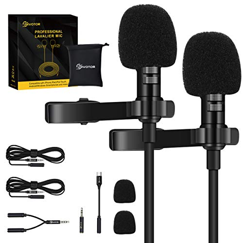 EIVOTOR 2 Pack Professional Lavalier Lapel Microphone,Omnidirectional Lapel Micwith Clip-on Perfect for iPhone Android Smartphone PC&DSLR, Recording Mic for YouTube,Interview,Video Conference,Podcast