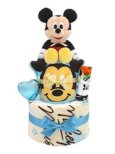 おむつケーキ ディズニー ミッキーマウス フェイスタオル付き 2段 男の子用 ck-631 (パンパースLサイズ)