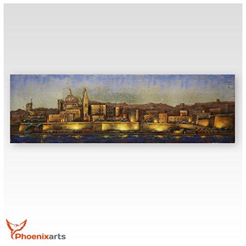 Phoenixarts Metallbild 3D Malta Valletta - Metall Bild Kirche Altstadt - 180x50cm - Wandrelief Kathedrale Stadt - über 40 Motive - 402