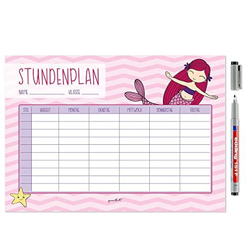 Meerjungfrau Stundenplan mit magnetischer Rückseite I DIN A4 I abwischbar, mit Stift I für Grundschule Kinder Mädchen I dv_613