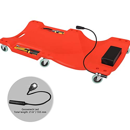 GOGOLO Mechanic Plastic 40' Car Creeper Board with Led Light, Car Workshop Crawler Board Ergonomic Body & Padded Headrest & Dual Tool Trays, 200kg Capacity, Red
