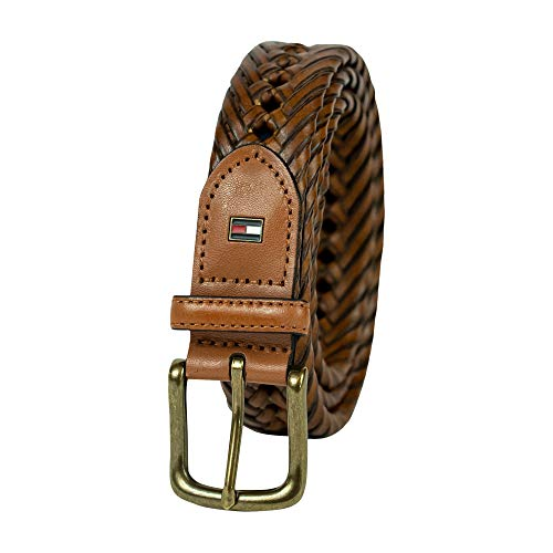 Tommy Hilfiger Leather Braided Belt - Casual for Mens Jeans with Solid Strap Single Prong Buckle, Tan, 42
