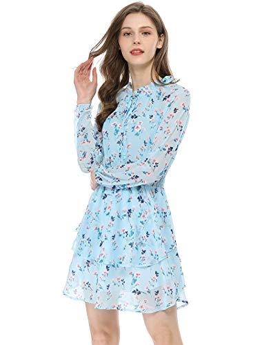 Allegra K Mini Vestido De Gasa Vintage En Capas Cintura Ajustada Cuello En V Corbata con Volantes Estampado Floral para Mujeres