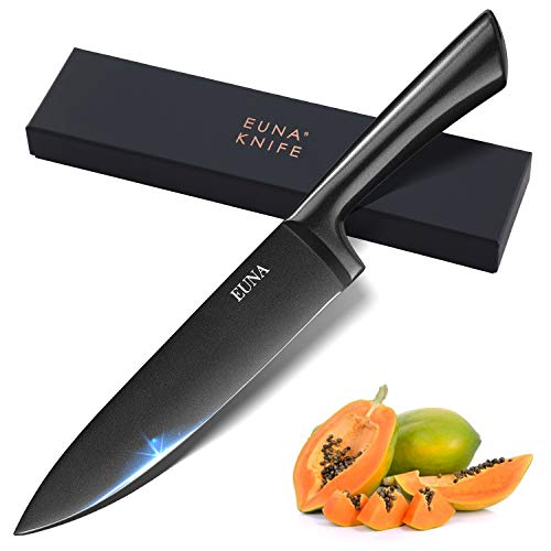 EUNA Kitchen Knife 8 inch Integrated with Sheath & Gift box Chef Knife Durable Ultra Sharp Cutlery Knife with Ergonomic Handle for Culinary Cutting Slicing Meat Vegetable