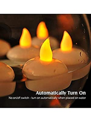 LOGUIDE 24 Pack Waterproof Flameless Floating Tealights,Yellow Flickering Battery Operated LED Tea Lights Candles - Wedding, Party, Centerpiece, Pool Decor