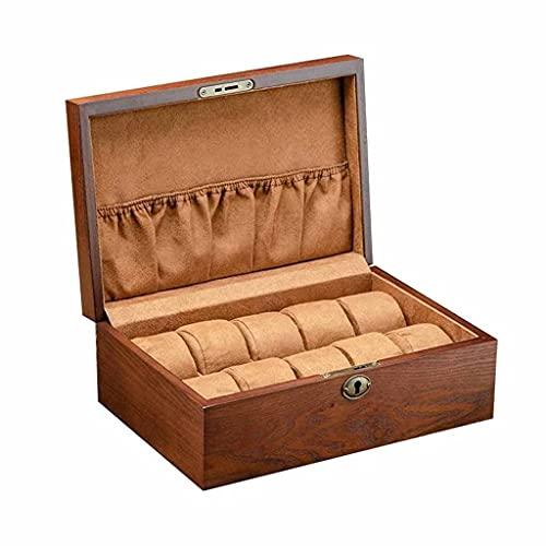 W-HUAJIA 1 unid Duradero práctico Caja de Almacenamiento sólido Madera Reloj joyería Reloj colección Organizador