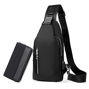 41STfLsFrAL. SS300  - FANDARE Bolsa de Pecho Hombres con Bolsos de Mano Bolsa Deportiva de Hombro Bolsa de Mochila con USB,para Acampada,Viaje…