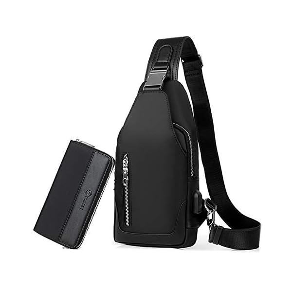 41STfLsFrAL. SS600  - FANDARE Bolsa de Pecho Hombres con Bolsos de Mano Bolsa Deportiva de Hombro Bolsa de Mochila con USB,para Acampada,Viaje…