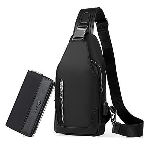 41STfLsFrAL - FANDARE Bolsa de Pecho Hombres con Bolsos de Mano Bolsa Deportiva de Hombro Bolsa de Mochila con USB,para Acampada,Viaje…