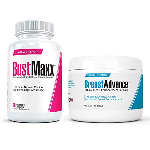 BustMaxx (60 Caps) Bundled with Breast Advance (4 oz.) - Most Effective Natural Breast Growth and Enhancement Combination for Bigger, Larger, Fuller Breasts | Enlargement Supplement & Topical Cream