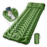 Camping Sleeping Pad with Pillow, MEETPEAK Upgraded 4 Inch Thickness Inflatable Foot Press Camping Mat, Durable Waterproof Lightweight Sleeping Air Mattress for Hiking Backpacking Traveling