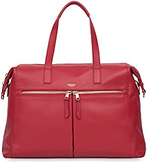 "Knomo Mayfair Luxe Audley, 14"" Leather Laptop Handbag, with Removable Strap, Device Protection, RFID Pocket and KNOMO ID, Chilli"