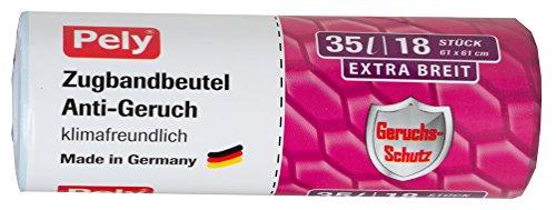 pely Zugbandbeutel Anti-Geruch, klimafreundlich, 35 Liter, Extra Breit, 61 X 61cm, 18 Stück