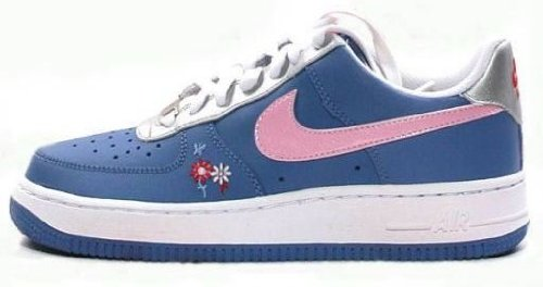 NIKE Air Force 1 Gs Flower Sneakers Youth Size 6 Blue 314219-461