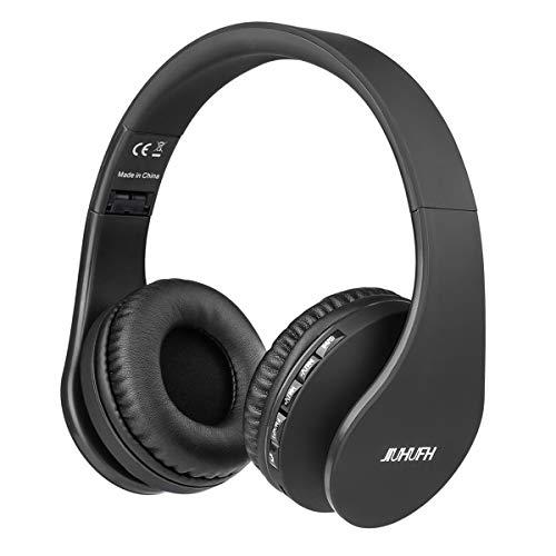 JIUHUFH Bluetooth 4.2 Cuffie Wireless Pieghevole con Microfono Incorporato/Lettore MP3/Radio FM/Auricolari comodi, Supporta la Modalità di Chiamata a Mani Libere/PC/Cellulare (Nero)