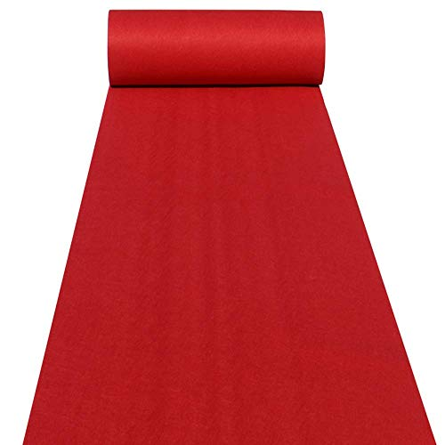 Aisle Runners Wedding Accessories 2mm Red Aisle Runner Carpet Rugs for Step and Repeat Display, Ceremony Parties and Events Indoor or Outdoor Decoration 24 Inch Wide x 15 feet Long