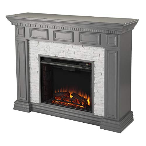 Dakesbury Faux Stone Electric Fireplace, Gray Décor Dining electric Features Fireplaces Home Kitchen