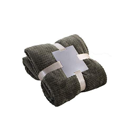 KAISUN Manta de forro polar para cama, suave y cálida, de franela, transpirable, ligera, lavable a máquina (100 x 150 cm, color verde oscuro)