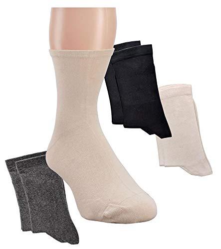 Wowi Wellness-Socken, extrafeine Qualität, Extra-Breit (35-38, beige)