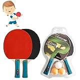 governingsoldiers Premium Tischtennisschlaeger Set,Sport Tischtennis Set,2 Tischtennis Paddel & 3 Ping Pong Ball Sportausrüstung,für Anfänger, Familien und Profis