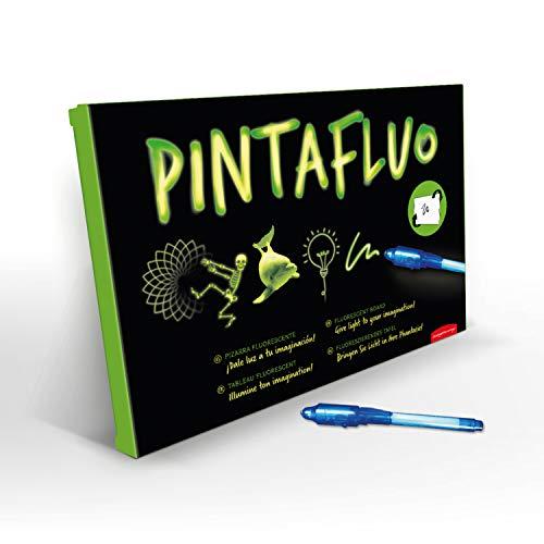 JUEGACONMIGO PINTAFLUO Pizarra Mágica Infantil. Dibuja con luz a Doble Cara y Doble Grosor. Incluye 2 bolígrafos, 10 Plantillas y Tinta Invisible. (Tamaño A3)