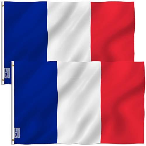 Anley Paquete de 2 Fly Breeze Bandera de Francia de 3x5 pies - Color Vivo y Resistente a la decoloración UV - Encabezado de Lona y Doble Costura - Banderas Nacionales francesas Poliéster