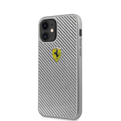 FERRARI® - Cover in fibra di carbonio grigio con logo FERRARI® (iPhone 12 Mini)