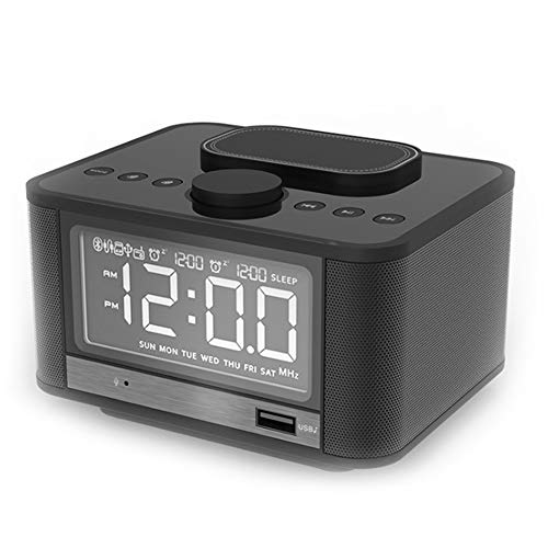 YYZLG Bluetooth Speaker Alarm Klok Multifunctionele Mobiele Telefoon Draadloos Opladen Nachtkastje Radio Stereo, size, Zwart