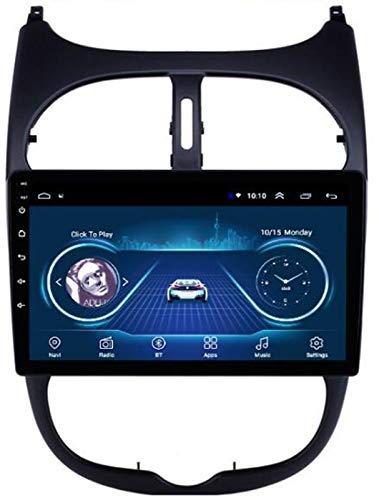 SSeir 9 Pulgadas Android 10.0 Radio de automóvil para Peugeot 206 2000-2016 Reproductor de automóvil con navegación de Audio GPS WiFi Bluetooth Admite el Control del Volante