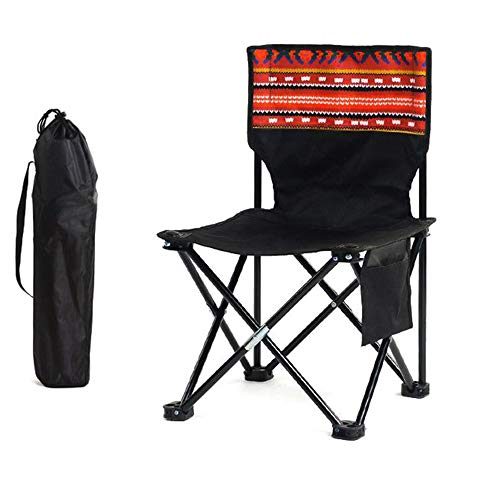 STONCEL Portable Folding Chair,Outdoor Stool for Camping/Fishing/Travel/Hiking/Fishing with Cup Holder,Fishing Chair withDurable Carry Ba (Black)