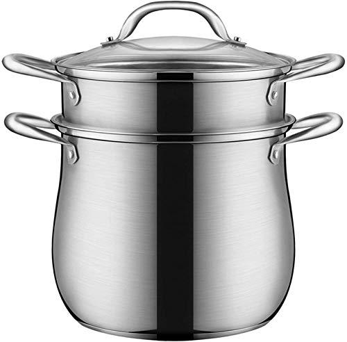 XY-M Alimentos de Vapor de Vapor de Vapor Olla Olla de Cocina de Acero Inoxidable Utensilios de Cocina con Cubierta de Vidrio Pote de hervidor Multicapa para Cocina con Vapor 26 cm