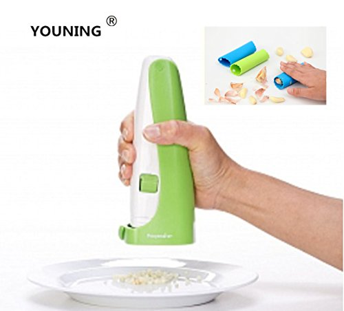 YOUNING Garlic Cuber And Peeler Set Garlic Press And Silicone Tube Peeler Included(2pack)