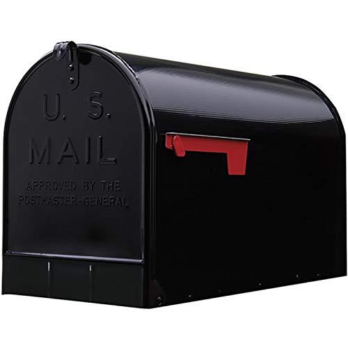 SoB Extra-Large Black Galvanized Steel Post-Mount Mailbox, 11.69in. W x 14.98in. H x 24.82in. D - Extra Large Mailbox - Mailbox with Mail - Mailboxes for Outside Post Mount