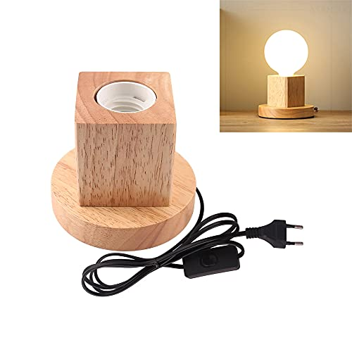 Lámpara de mesa de madera, casquillo E27, cable de 1.5m con interruptor, hasta 60W, lámpara decorativa retro industrial Edison, para salón, dormitorio y oficina, estudio,cafetería, bar(A)