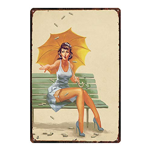 Vintage Russian Cartoon Plaque Iron Painting Pin Up Sexy Girl Tin Sign Pub Cafe Shop Home Wall Decor Stickers Metal Plate Poster 20x30cm 2