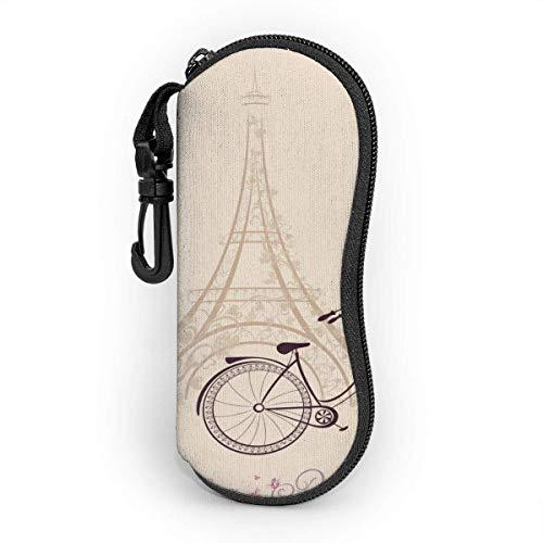 Sonnenbrillenetui Reißverschluss Brillenetui Paris Tower Eiffel und Fahrrad Romantische Postkarte