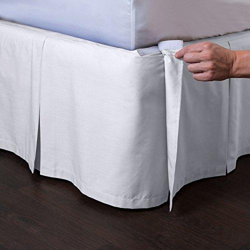 ShopBedding Ashton Detachable Bedskirt (Queen Size, White, 21' Drop) - Easy on/Easy Off Pleated Bed Skirt