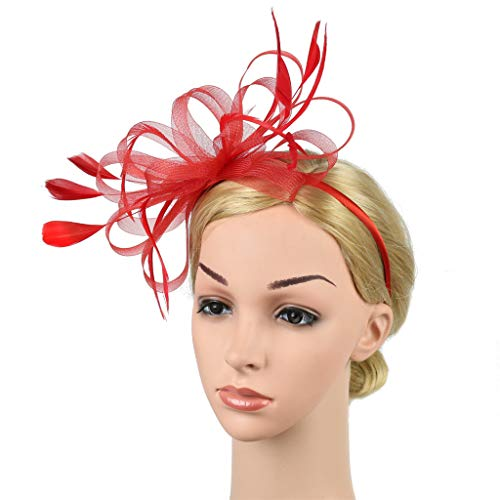 D&XQX Fascinator Hats Headband for Women,Satin Feather Wedding Cocktail Tea Party Royal Ascot Church Head Piece, Costume Hair Clip Accessories,Red