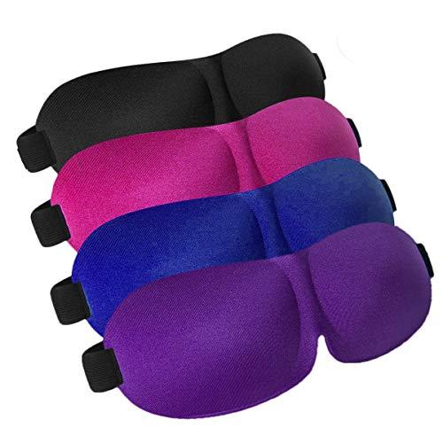 Schlafmaske 4er Pack Verstellbare 3D Konturierte Augenmasken zum Schlafen für Damen und Herren, Schwarz/Blau/Lila/Rot