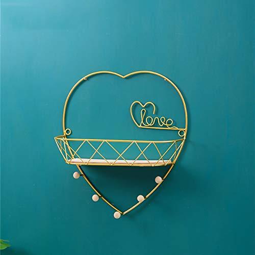 Estante de pared de metal con ganchos, toallero, perchero de pared, flotante, dorado (corazón, M)