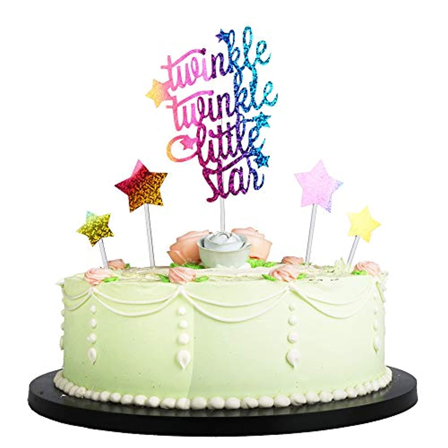 LVEUD Colorful Glitter 4PC Pentagram and twinkle Twinkle Little Star letter Cake Topper Decorations