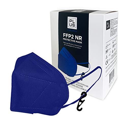PLUS FFP2-Masken Blaue e mit bequemen Gummibändern, verstellbarem Nasenstück, Staub- und Pollensicherheit, weißem Interieur, CE-zertifiziert mit Haken Inklusive Packung mit 20 Stück