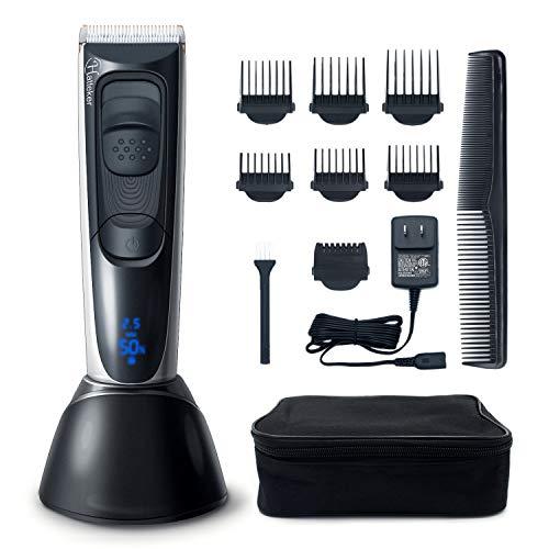 Hatteker Haarschneider Haarschneidemaschine Männer Elektrischer Herren Profi Haartrimmer Set Barttrimmer mit Titan-Keramik-Klinge LCD Anzeige Schnelle Aufladung Lithiumbatterie Bestes Geschenk